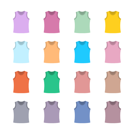 tanktop: Set of sixteen in a flat style color tank top isolated on white background, design element outerwear and article of clothing, first set, vector illustration. Illustration