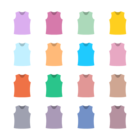 tank top: Set of sixteen in a flat style color tank top isolated on white background, design element outerwear and article of clothing, third set, vector illustration.