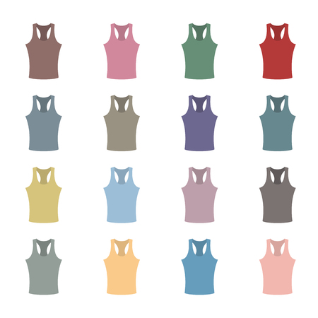 tanktop: Set of sixteen in a flat style color tank top isolated on white background, design element outerwear and article of clothing, second set, vector illustration. Illustration