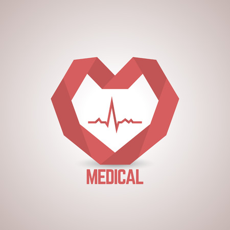 medical center: a red paper heart to the medical center, pharmaceutical companies, health centers, medical companies, vector illustration.
