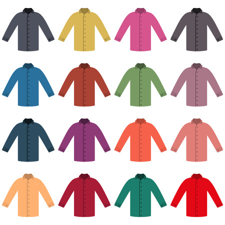 outerwear: Set of sixteen in a flat style color shirts isolated on white background, design element outerwear and article of clothing, vector illustration.