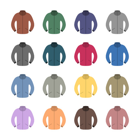 outerwear: Set of sixteen tracksuits in a flat style, isolated on white background, design element outerwear, vector illustration.