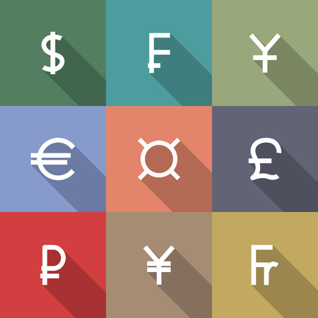 Set von neun quadratische Symbole Symbole der führenden Weltwährungen, Flat, lange Diagonale Schatten, Vektor-Illustration.