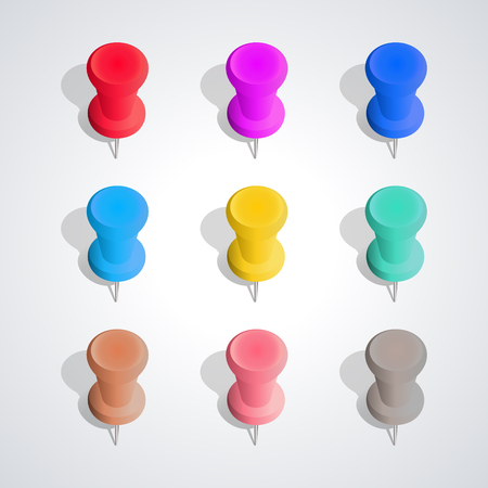 Set of nine colored pushpins with shadow and 3D effect, isolated on white background, design elements Chancellery, third set, vector illustration. Illustration
