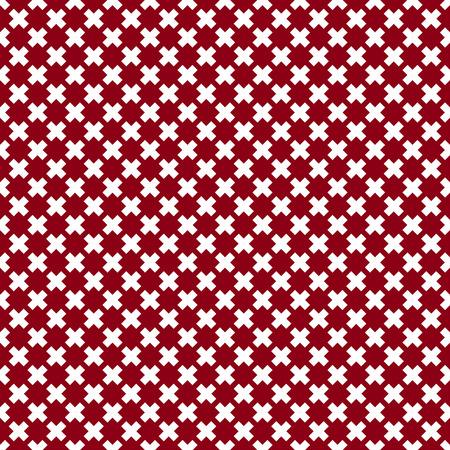 seamless rosso e bianco da diverse croci, ripetendo piastrelle geometriche, illustrazione vettoriale.