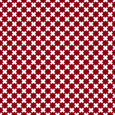 fabric texture: Red and white seamless pattern from different crosses, repeating geometric tiles, vector illustration.