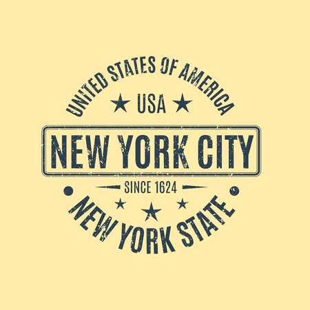rubberstamp: Round, blue grunge stamp with the text New York City, isolated on a yellow background. Design elements for printing on T-shirts, vector illustration.