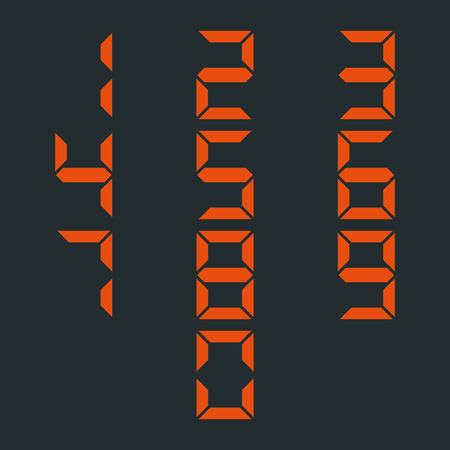 4 3 display: Set digital numbers from zero to nine, isolated on black background, third set, vector illustration. Illustration