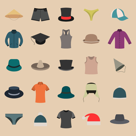 headwear: Set various upper and lower clothing and headwear, wardrobe design items, vector illustration. Illustration