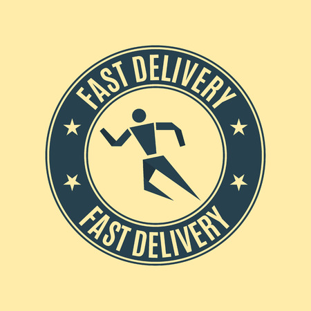rubberstamp: Round emblem fast delivery, flat style, isolated on a yellow background, vector illustration.