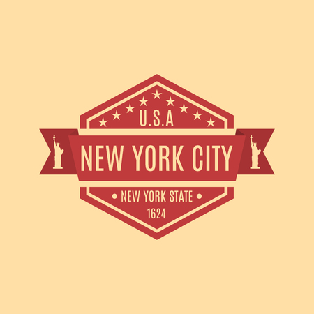 rubberstamp: Hexagonal emblem with the text of the city of New York in a retro style, isolated on a yellow background, vector illustration. Illustration