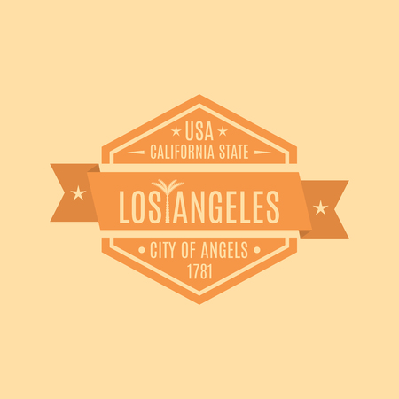 rubberstamp: Hexagonal emblem with the text of the city of Los Angeles in a retro style, isolated on a yellow background, vector illustration.