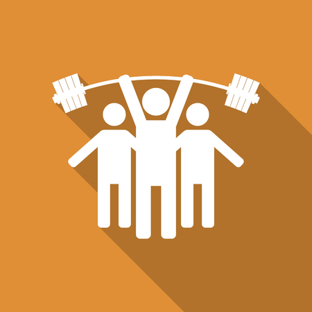 shadow people: Icon stick figure, silhouettes athletes with sports equipment, people icon, with long diagonal shadow, vector illustration.