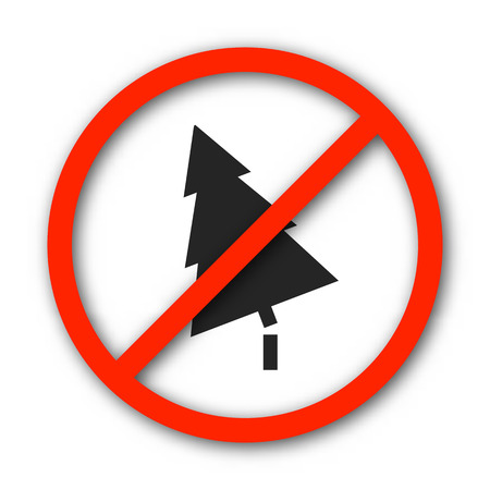 conflagration: Round prohibition sign banning deforestation, isolated on a white background, vector illustration.