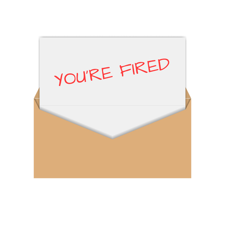 you are fired: Realistic envelope of yellow paper with a letter, notice you are fired, flat icon,  illustration. Illustration