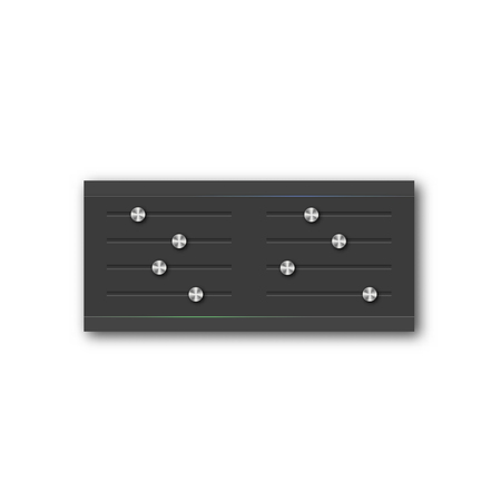 equalizer sliders: Graphic equalizer with a set of sliders and stylish steel buttons. Design web interface elements, vector illustration.