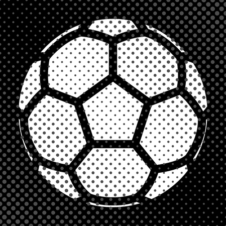 Sports background Ball for the game of soccer, the effect of halftone and place for your text, vector illustration. Illustration