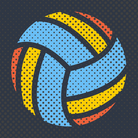 volley: Sports background Ball for the game of volleyball, halftone effect and a place for you text, vector illustration.