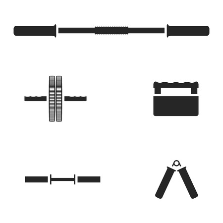 fingerboard: Set of silhouettes of sports equipment for the gym, isolated on white background, vector illustration