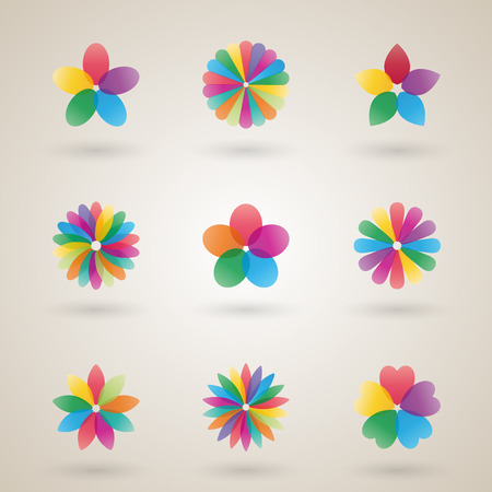 bud: Set of  design template a flower bud with bright petals, business icon, flat style, vector illustration. Illustration