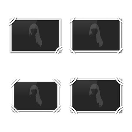 album page: Blank retro photo frame on the album page, vector illustration. Illustration