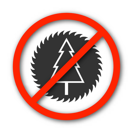 banning the symbol: Round prohibition sign banning deforestation, isolated on a white background, vector illustration.