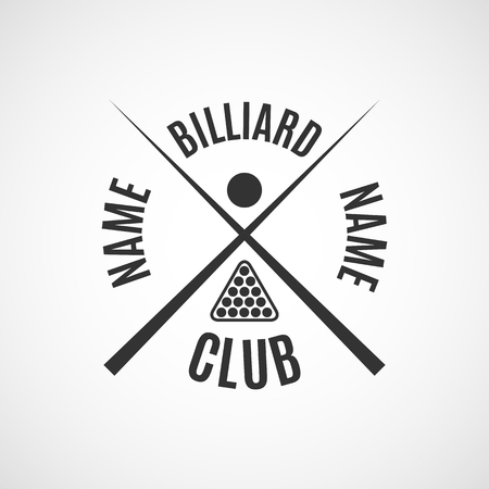 billiards halls: Grey  for different types of billiards, pool, snooker, isolated on white background in retro style, vector illustration.
