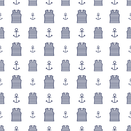 Nautical background, seamless texture with a sailor striped vest and a anchor, vector illustration.