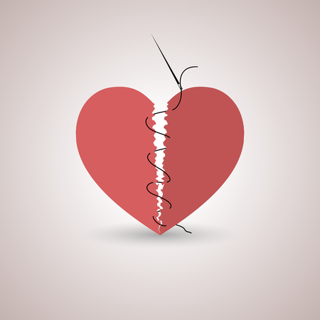 Icon red, paper, broken heart stitched thread with shadow, flat style, isolated on a light background, vector illustration.