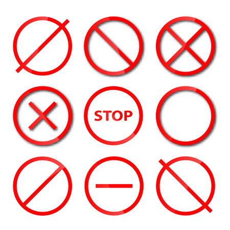 Set of red, round, different shapes prohibition signs, isolated on white background, vector illustration.