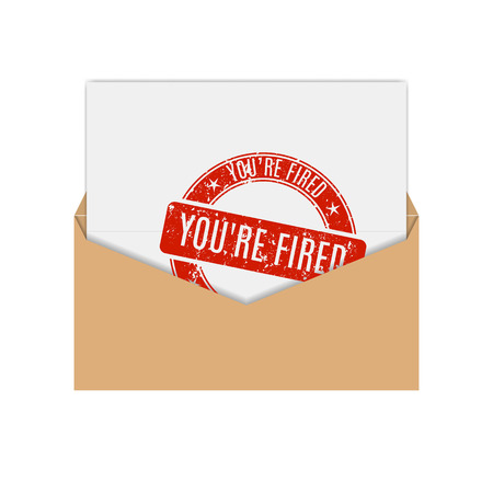 you are fired: Realistic envelope of yellow paper with a letter, notice you are fired, flat icon, vector illustration.