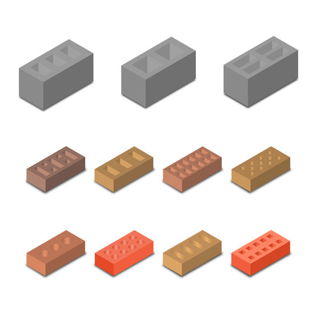 Set isometric icon construction materials, various in form cinder blocks and bricks isolated on white background, vector illustration.