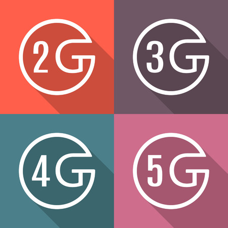 4g: Icons of different generations mobile communication with a long diagonal shadow, design element digital devices, vector illustration. Illustration