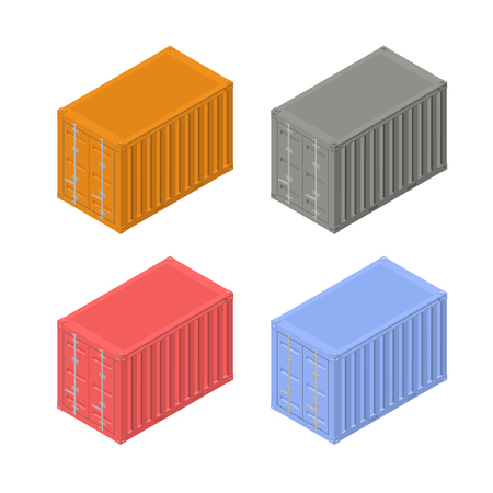 Set of multicolored shipping containers for cargo transportation, isolated.