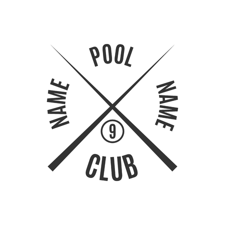 pool halls: Grey logo for different types of billiards, pool, snooker, isolated on white background in retro style, vector illustration. Illustration