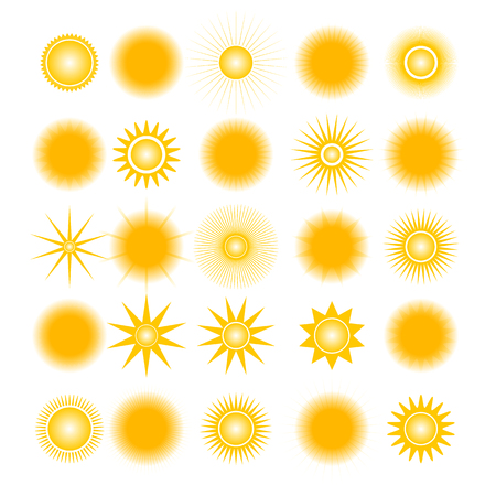 Set of different icons sun, isolated on white background, design elements of weather, vector illustration.
