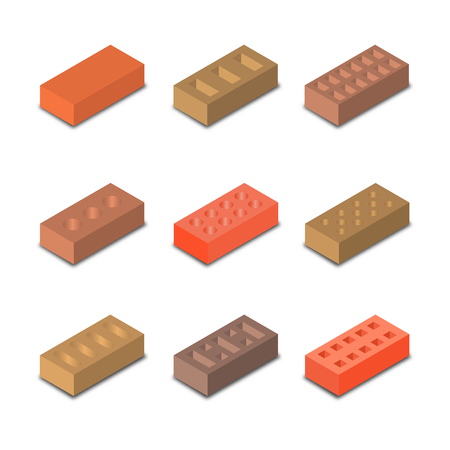 Set of nine different shapes isometric bricks, design elements construction materials, isolated on a white background, vector illustration. Illustration