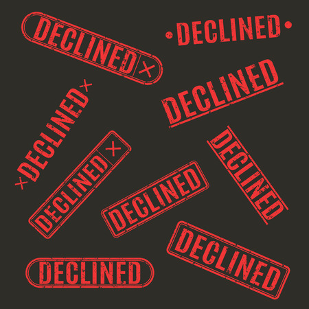 disapprove: Set of grunge rubber stamps declined, isolated on a black background, rectangular shape, vector illustration.