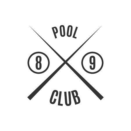 snooker halls: Grey logo for different types of billiards, pool, snooker, isolated on white background in retro style, vector illustration. Illustration