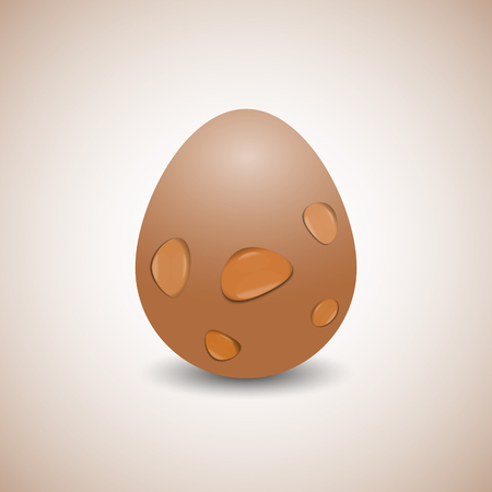 disposed: Realistic egg with transparent drops of water, isolated on a yellow background. The vertical arrangement, vector illustration.