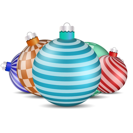 Toys and decorations for the Christmas tree on a white background, vector illustration. Set of design elements for greeting cards, New Year banners.