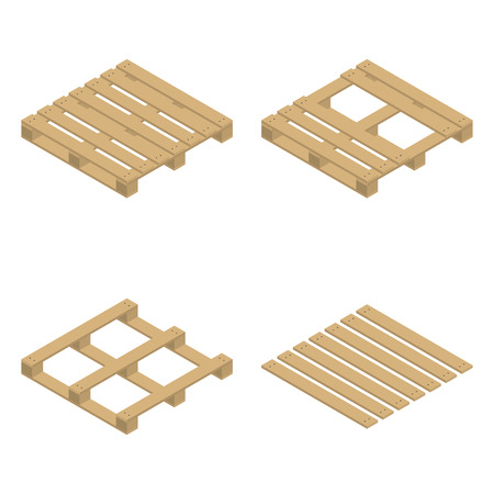 Wooden palette, isolated on white background. Flat 3D isometric style, vector illustration.