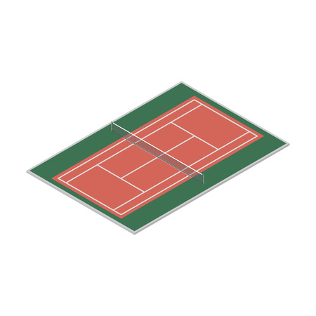 synthetic court: Field for the game of tennis with the markings and grid, isolated on white background. Flat 3D isometric style, vector illustration.