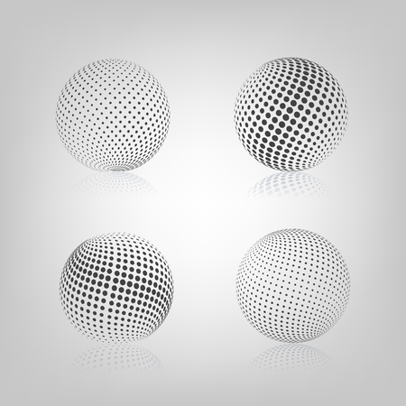 Gray sphere with halftone fill and mirror reflection, isolated on white background, vector illustration. Illustration