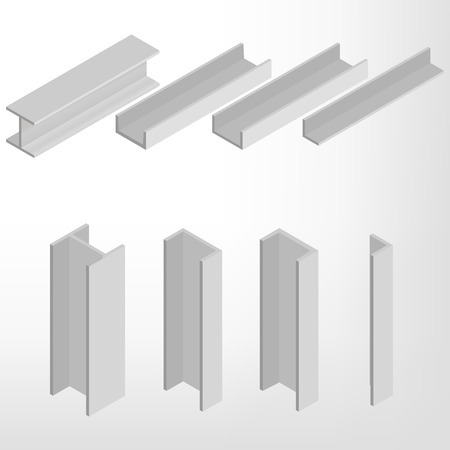 steel structure: Steel beam isolated on white background. Design elements for the construction and reconstruction. Flat 3D isometric style, vector illustration.