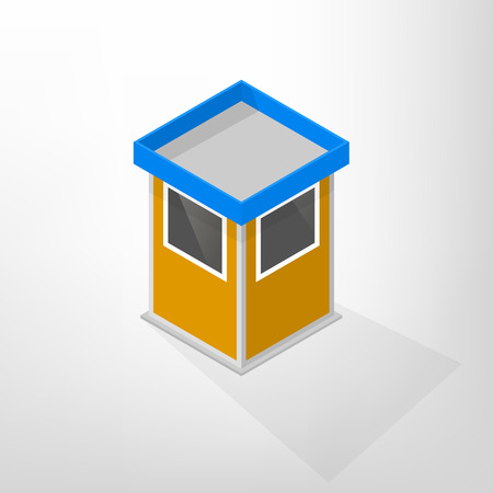 security icon: Security lodges isolated on a white background. Flat 3D isometric style, illustration. Illustration