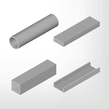 steel beam: Steel beam isolated on white background. Design elements for the construction and reconstruction. Flat 3D isometric style, illustration.