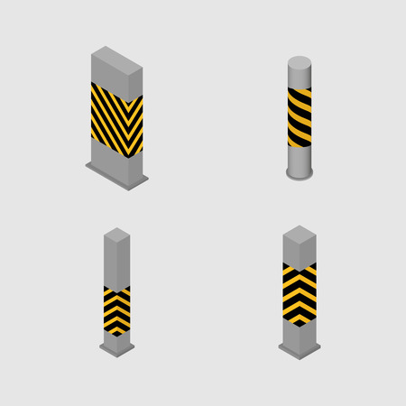 Set of different shape columns and pillars in an isometric style, isolated on white background. Design elements for building and architecture, illustration.