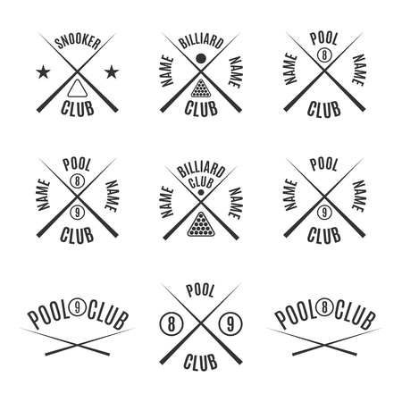 Set of nine different types of emblems billiards, pool, snooker, isolated on white background in retro style, illustration.