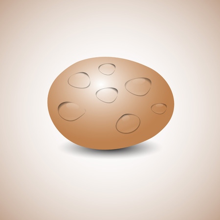 disposed: Realistic egg with transparent drops of water, isolated on a yellow background. The horizontal arrangement, illustration. Illustration